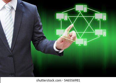 Businessman hand touching virtual panel of mesh topology , Computer network technology concept