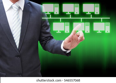 Businessman hand touching virtual panel of bus topology , Computer network technology concept