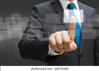 Businessman hand touching the virtual panel of round rectangle interface, business concept