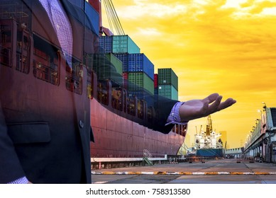 Businessman hand and transportation import export, Container on the ship at port in the morning, Schedule ship into stock, double exposure