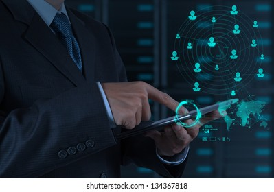 businessman hand using tablet computer shows internet and social network as concept