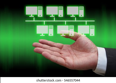 businessman hand with virtual panel of bus topology , Computer network technology concept