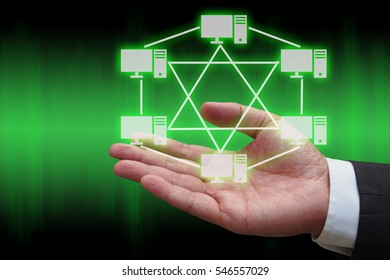 businessman hand with virtual panel of mesh topology , Computer network technology concept