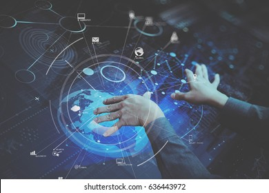businessman hand working with modern computer in modern office with virtual icon diagram
