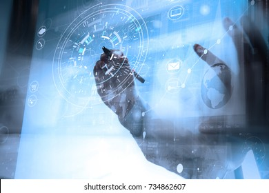 businessman hand working with modern technology and digital layer effect as business strategy concept with VR diagram