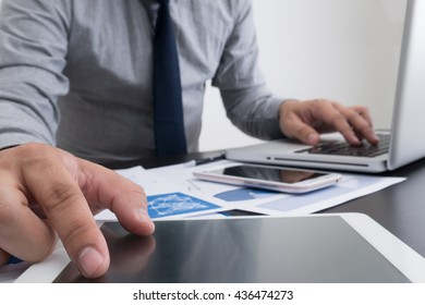 businessman hand working with new modern computer and business