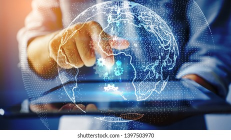 businessman hand working with tablet modern technology  as social network concept