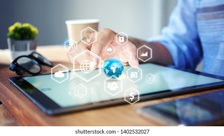 businessman hand working with tablet modern technology  as social media concept