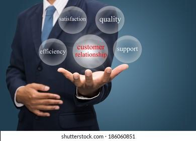 businessman hand write a customer relationship