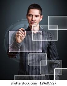 Businessman hand write virtual blank buttons