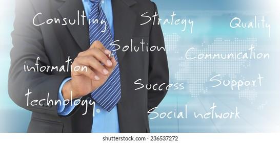 businessman hand writing