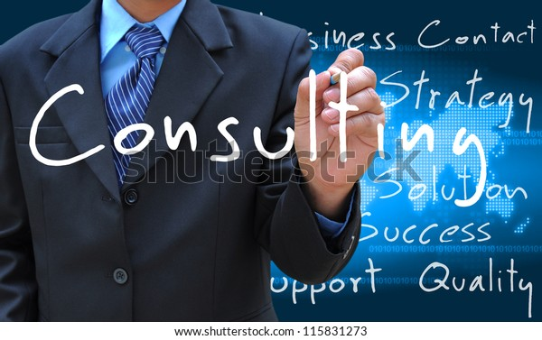 businessman hand writing consulting