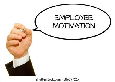 Businessman hand writing Employee Motivation isolated on white.