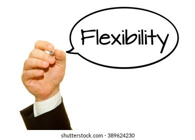 Businessman hand writing Flexibility word with a marker.