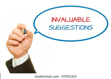 Businessman hand writing invaluable suggestions message on a transparent wipe board