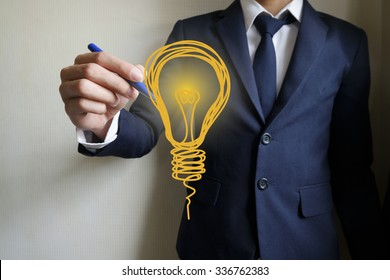 businessman hand writing light bulb, business idea concept