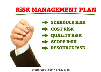 Businessman hand writing Risk Management Plan on a transparent wipe board