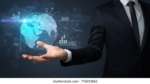 Businessman handing transparent global information flow concept on his hand