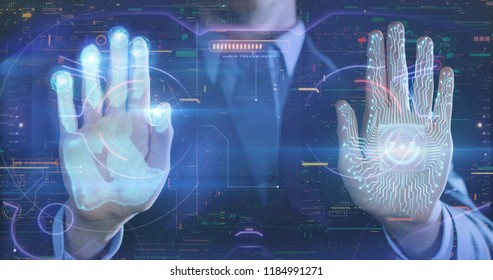 Businessman handprint leaning on control glass for biometric scan. concept of surveillance and security through human fingerprints in the future of digital technology.