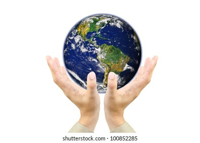 Businessman hands holding planet Earth .Elements of this image furnished by NASA