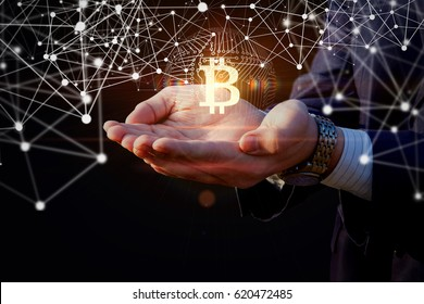 Businessman with hands offers bitcoin concept design.