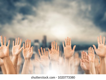 Businessman Hands raising