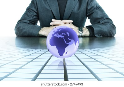 businessman hands resting on top of his desk