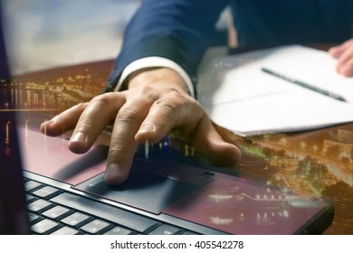 Businessman hands typing on a computer keyboard.