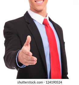 Businessman handshake isolated on a white background