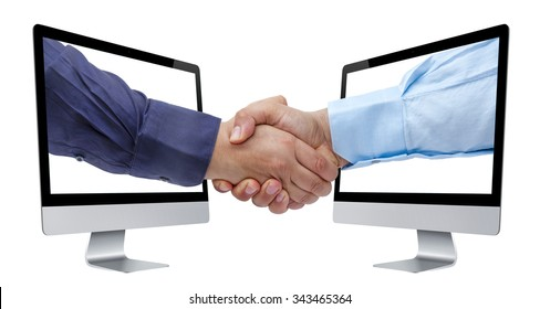 Businessman handshaking coming out from perspective view of computer screens isolated