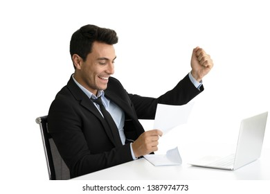 Businessman happy when look document paper in hand, Business Succeed concept.