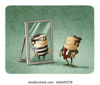 Businessman has been reflected as a thief in a mirror