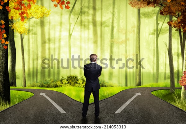 businessman has to decide which direction is better