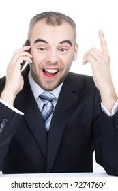 Businessman have a good idea on cell phone