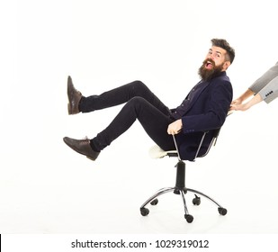 Businessman having fun taking break in the office at work isolated on white background