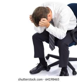 businessman  having stress. Over white background