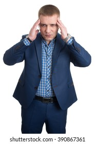 Businessman with headache Closeup Portrait isolated on White Background