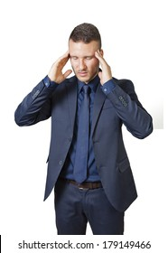 businessman with headache isolated on a white background
