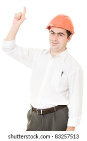 Businessman in helmet pointing up.