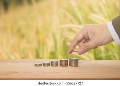 a businessman help agricultural cooperative for farmer concept putting money coin stack growing business by hand and blur rice nature background
