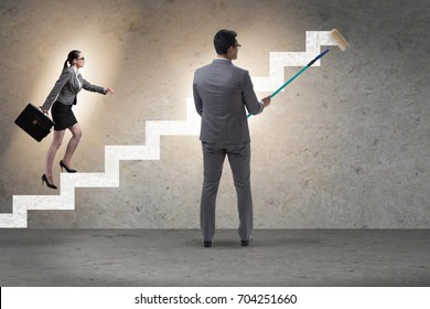 Businessman helping colleague to progress in career ladder
