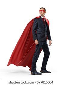 A businessman in a hero red cape and a mask in front view looking in the distance over his shoulder on white background. Business and success. Planning and analyzing. Past mistakes.