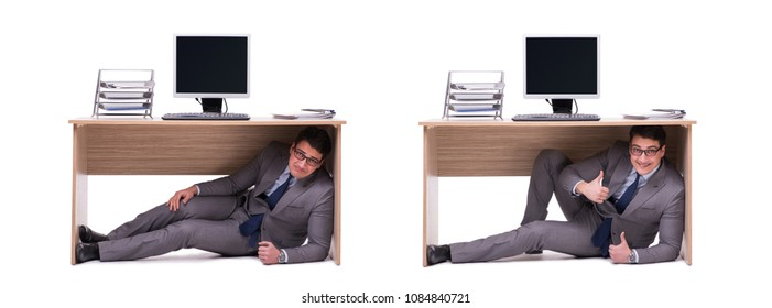 Businessman hiding in the ofice