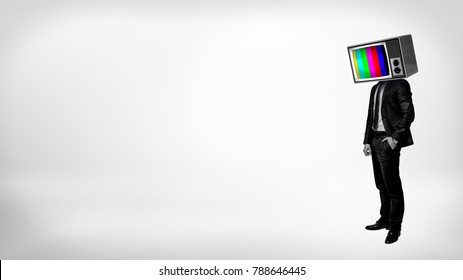 A businessman in a high contrast stands with one arm in a pocket and a TV with color bars instead of his head. Important information. Obsolete technologies. Retro management style.