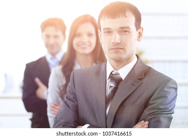 businessman and his business team