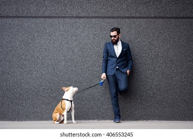 Businessman with his dog.