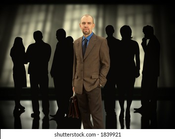 Businessman with his group(made from my images,special f/x)