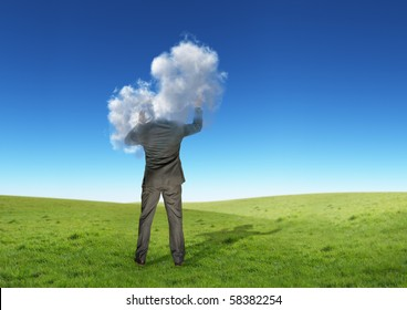 A businessman with his head in the clouds.