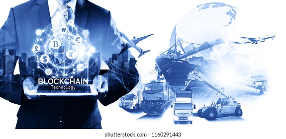 Businessman hold the blockchain hologram on tablet, Business and Technology, Internet of thinks and network the concept of cryptocurrency, blockchain, logistics technology transportation concept