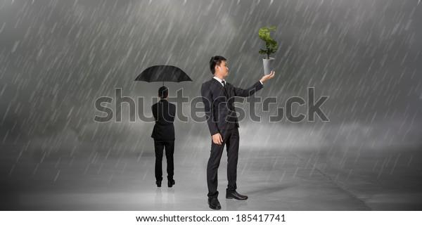Businessman Hold Dollar Tree On Raining Stock Photo (Edit